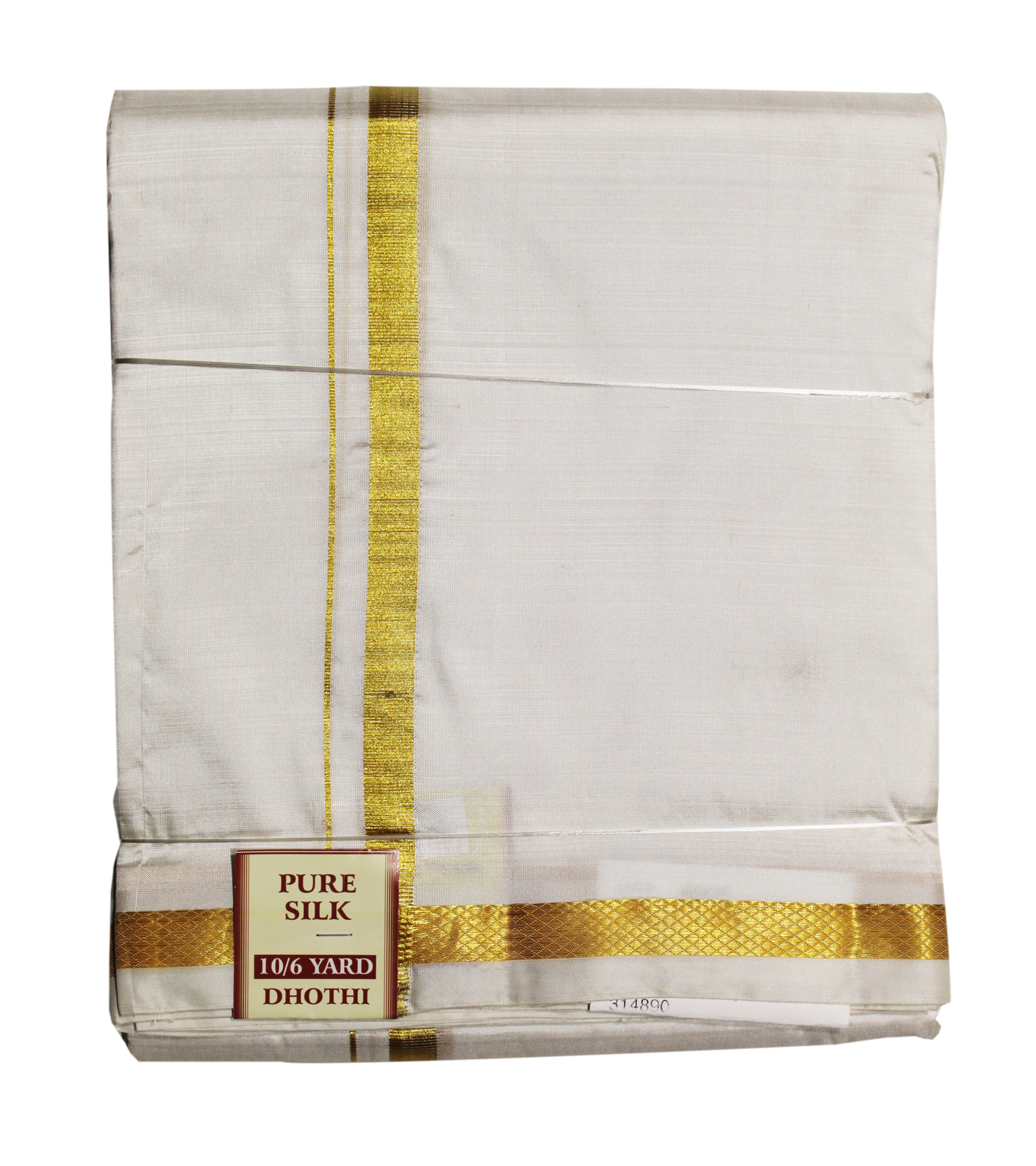 Pure Silk Dhoti White Colour