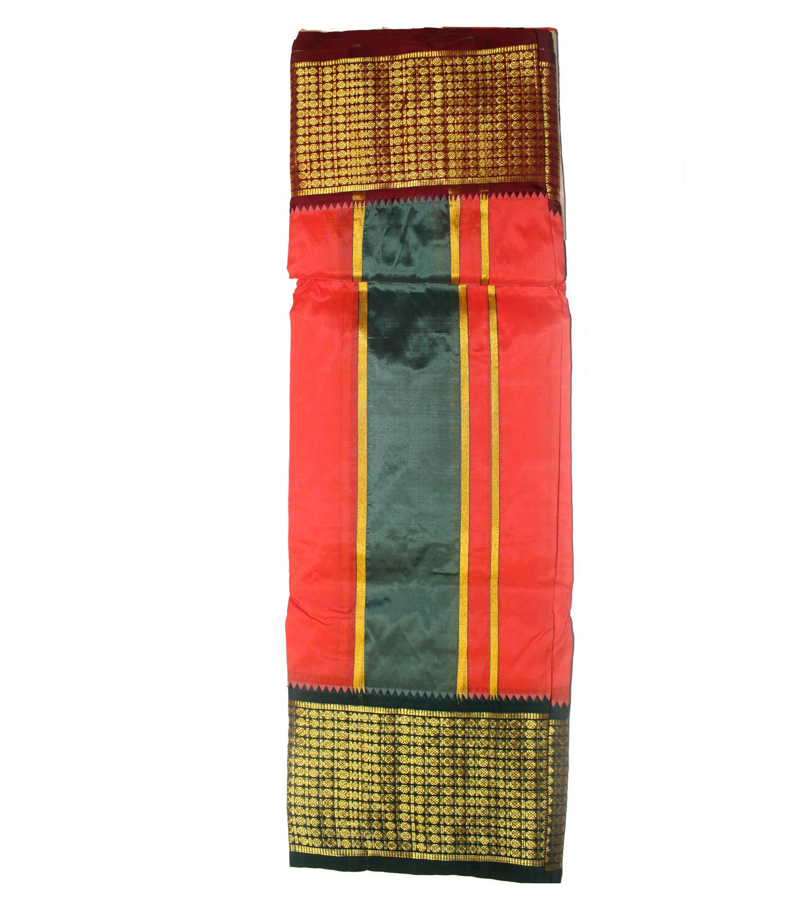 Pure silk dhoti with multi color border
