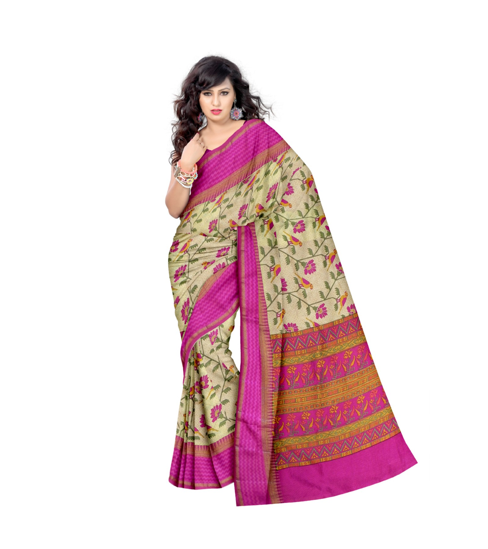 Fancy Jute Saree Pink